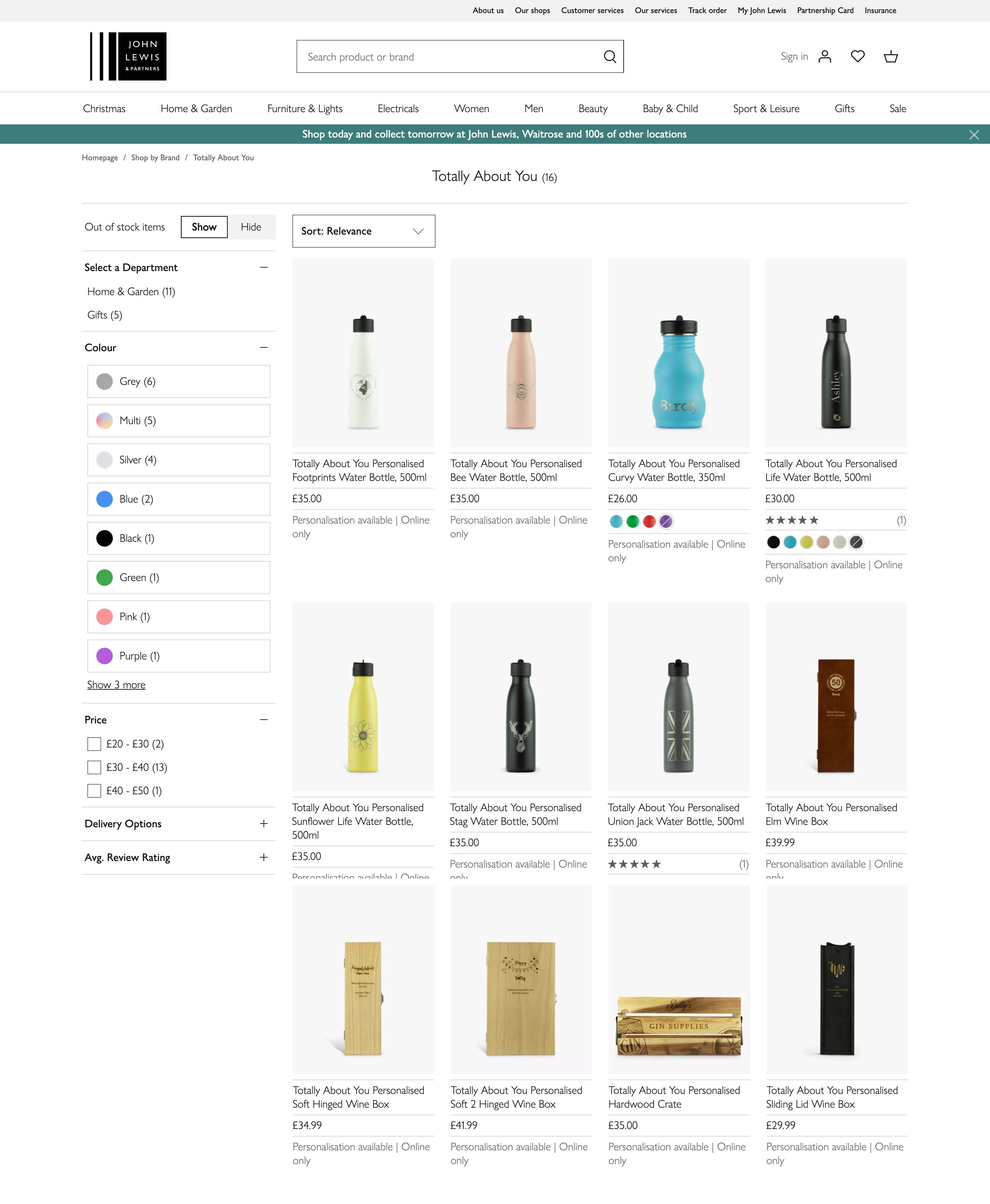 John Lewis Products online Totally About You